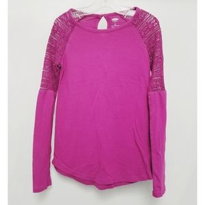 Magenta Old Navy Tee with Crochet Sleeve